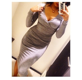 grey dress long sleeves long sleeve dress comfortable v neck party dress casual fun