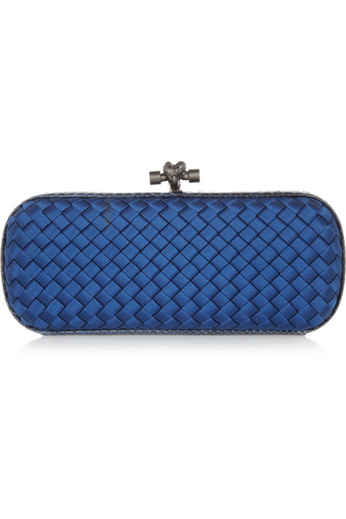 the knot intrecciato satin and ayers clutch