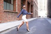 ktr style,blogger,top,shirt,skirt,shoes,sunglasses,high heel pumps,white skirt,pencil skirt
