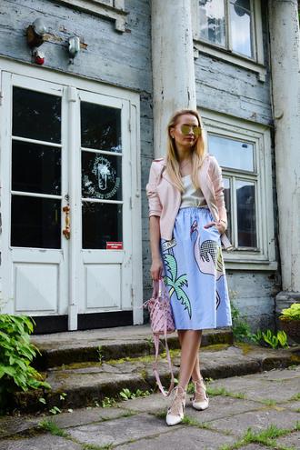 jacket skirt tumblr leather jacket pink jacket midi skirt blue skirt bag pink bag top ballet flats flats sunglasses