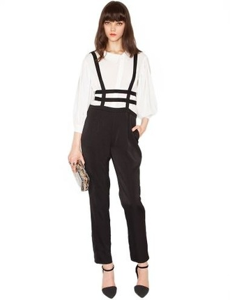 jumpsuit romwe jumpers romper blsck black jeans white t-shirt jumper black jumpers caged grunge romper style hot pants cool hipster romwe suspenders cute high heels cute top