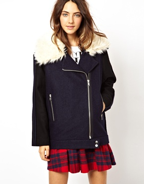 ASOS | ASOS Cocoon Biker With Contrast Faux Fur Collar at ASOS