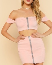 dress,girly,pink,two-piece,two piece dress set,cropped,crop tops,crop,skirt,off the shoulder,off the shoulder top,zip