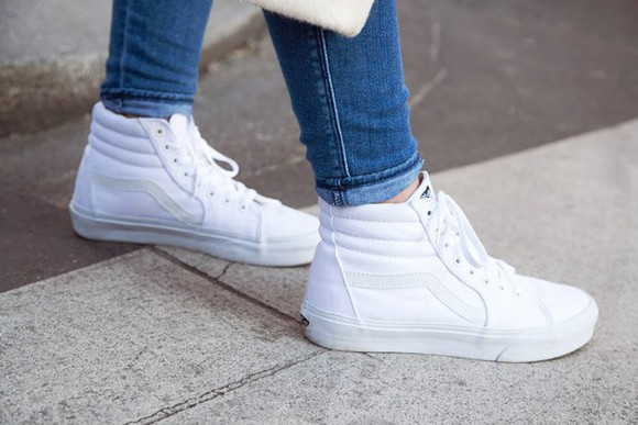 shoes cool vans sneakers sk8-hi old school all white streetstyle