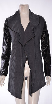 cardigan,women pu full sleeve knitted waterfall cardian charcoal