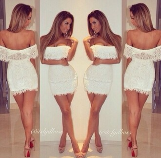 dress white white dress lace ruffle lace ruffle short party clubwear evening off shoulder strapless lace white dress