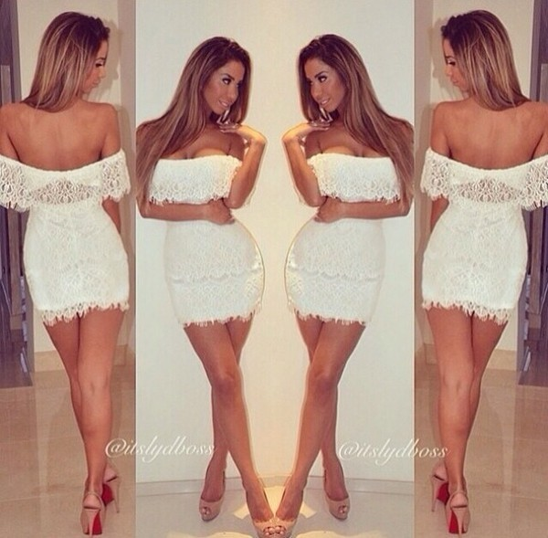 dress white white dress lace ruffle lace ruffle short party clubwear evening outfits off the shoulder strapless lace white dress