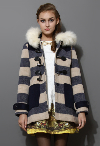coat faux fur hooded navy duffle