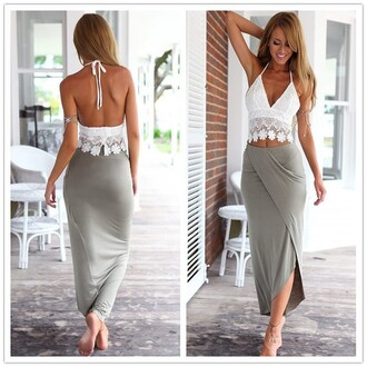 skirt white straps lace top t-shirt grey grey shirt two-piece set lace side backless top crop tops white top sexy lady fashion summer sexy two piece set slit maxi skirt