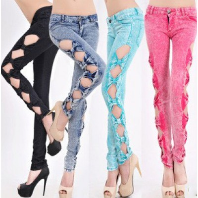Buy Fashion Clothing -  Slim side bow Denim Women's Jeans Pants - Jeans - Bottoms