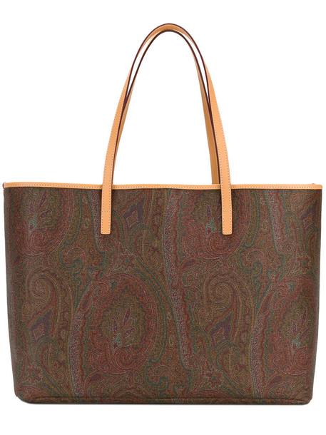 ETRO women leather cotton print paisley bag