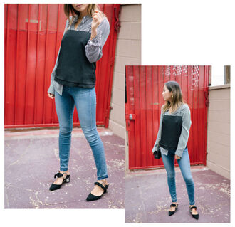 song of style blogger jeans tank top shoes shirt bag jewels