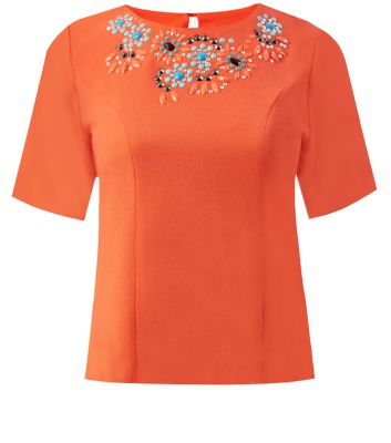 Jumpo Orange Bead Embellished Scallop Neck Top