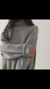 sweater,grey,jumper,sweater weather,winter sweater,tumblr,aesthetic,grey oversized sweater,oversized sweater,turtleneck,grey sweater,thick,long,shoes,long sleeves,comfy clothes,top,grey top,grey dress,hot,cold,cute,cute dress,cute outfits,back to school