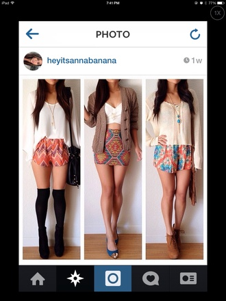 shorts fashion fashionista cute aztec shorts aztec shoes sweater fall colors fall outfits orange top trendy crop tops floral flowers skirt girly tumblr girl cool amazing sweet hipster tumblr i love this like blouse multicolored shorts spring outfits