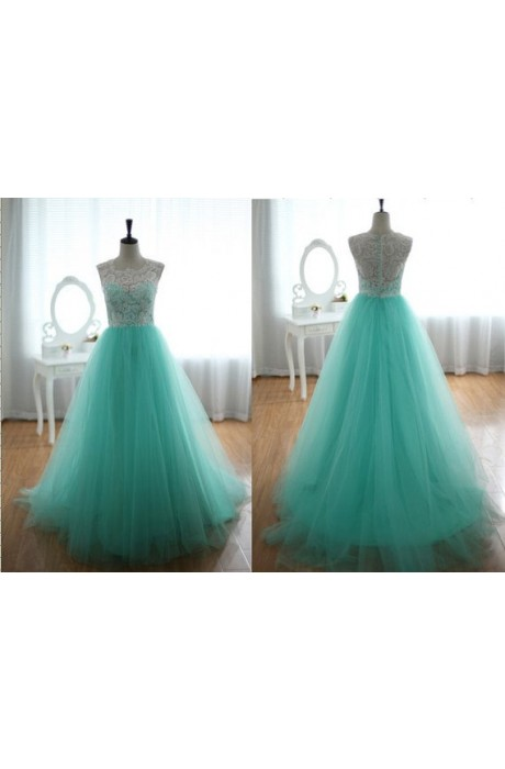 A-line V-neck Floor Length Lace Mint Prom Dress with Ruched/Draped NPD1051 Sale at Shopindress.com