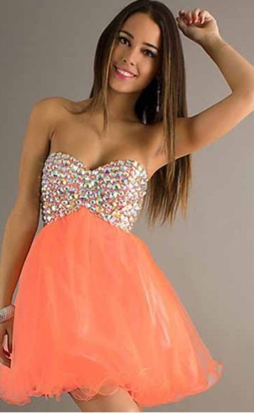 diamonds short dress coral orange dress homecoming dress sparkles