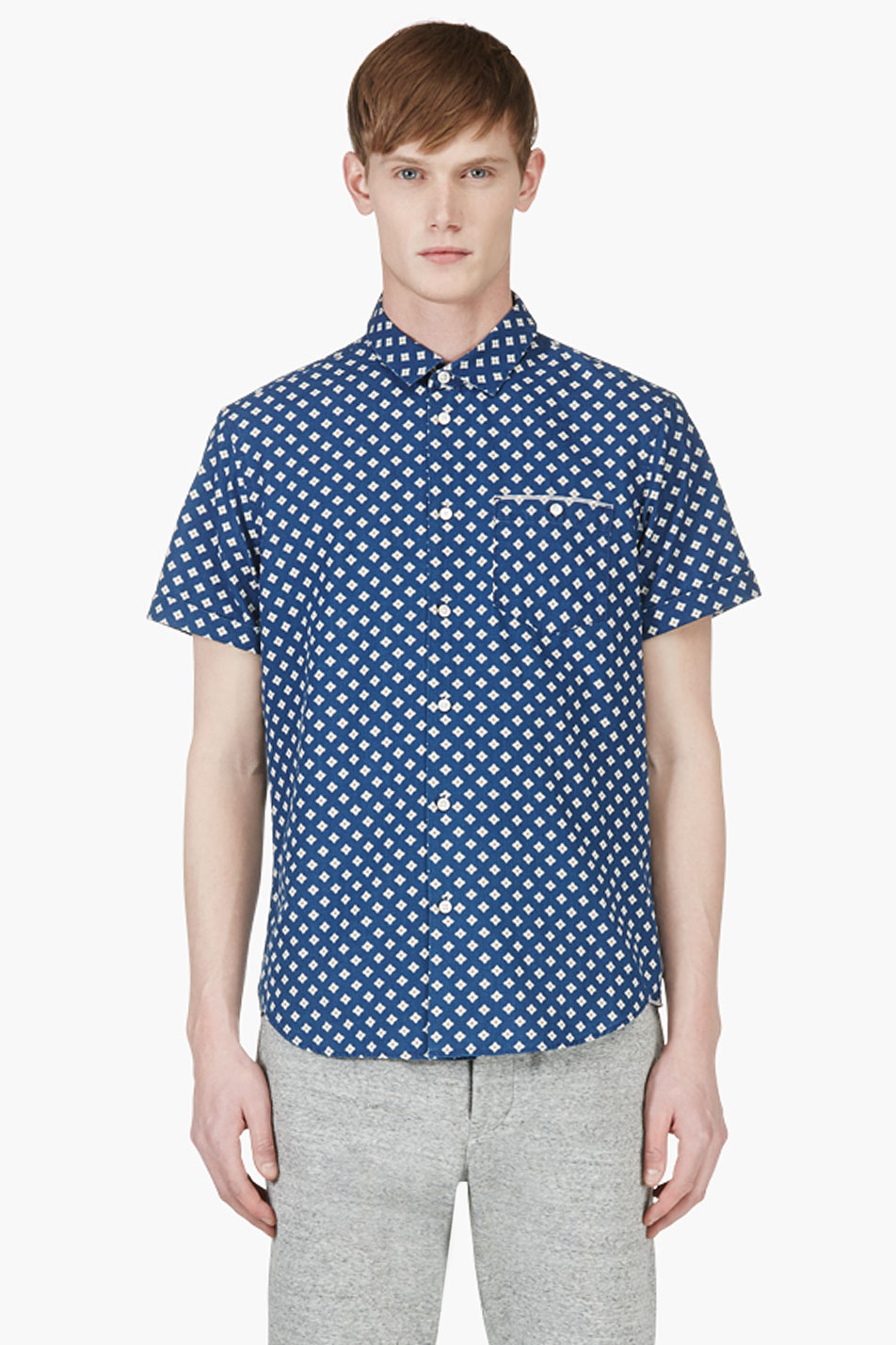 marc by marc jacobs indigo floral chambray shirt