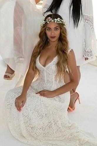 dress lace wedding dress white dress white beyonce prom dress gown plunge v neck lace dress