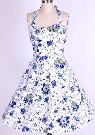 halter dress long dress vintage dress rockabilly rockabilly dress white dress vintage 1950s swing dress 1950s dress floral dress housewife dress rockabilly style 50s dress wihte flroals