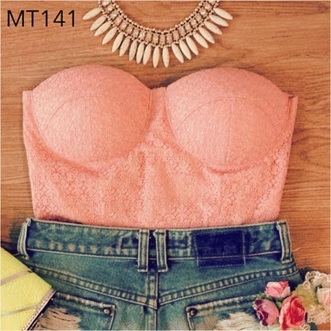 Pink Lace Bustier Cropped Top