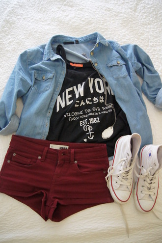 denim jacket black top graphic tee quote on it burgundy shorts white sneakers converse new york city river island outfit