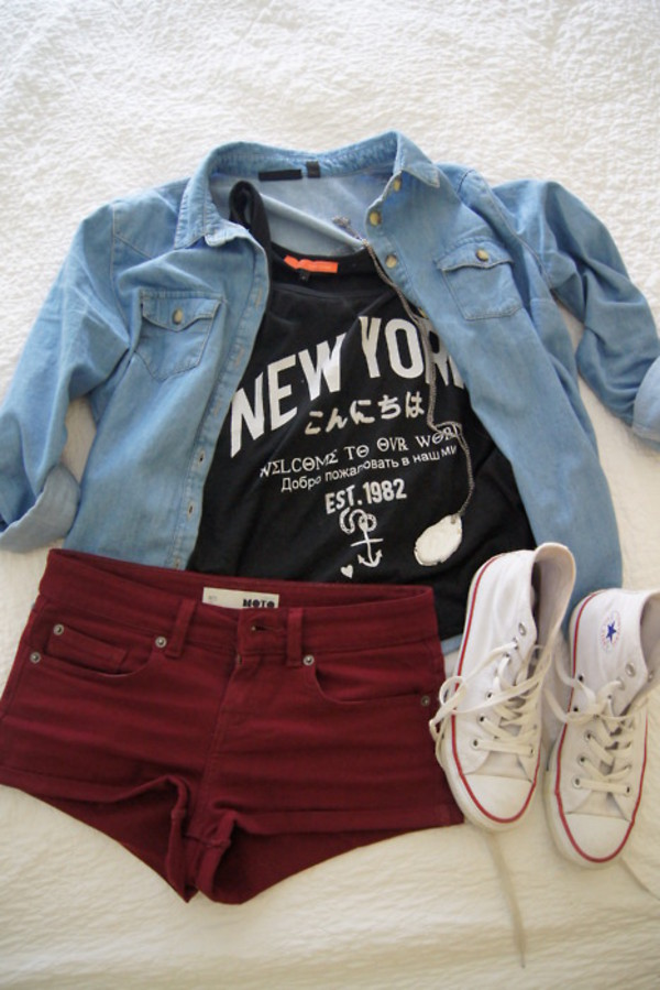 denim jacket black top graphic tee quote on it burgundy shorts white sneakers converse new york city river island outfit t-shirt shirt shirt new york city denim shirt maroon shorts cute pants top tank top black red shorts coat