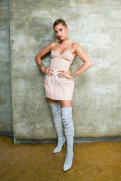 jumpsuit,mini dress,met gala,over the knee boots,balmain,hailey baldwin,nude dress,bustier dress,model,dress,shoes,suede boots,suede