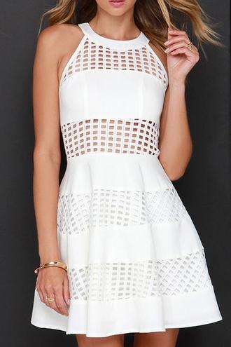 dress white hollow