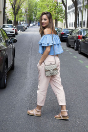 lady addict,blogger,jewels,pink pants,nude pants,off the shoulder,blue top,denim top,gucci,gucci bag,dionysus,flats,pink capri pants,blue off shoulder top,pants,top,ruffle,blue,baby pink,cropped pants,ruffled top,sandals,studded sandals,flat sandals,white sandals,spring outfits,shirt,denim shirt,blue shirt