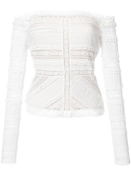 Cinq A Sept - lace panel bardot top - women - Silk/Cotton/Nylon/Spandex/Elastane - L, White, Silk/Cotton/Nylon/Spandex/Elastane