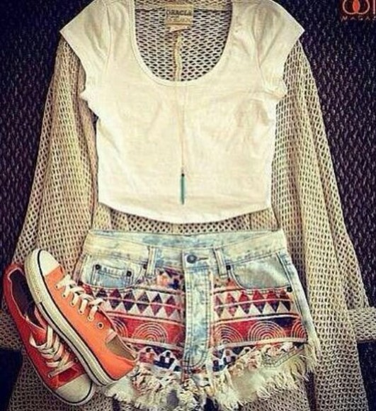 colorful aztec denim shirt summer outfits shorts jacket high waist shorts aztec cute loose aztec