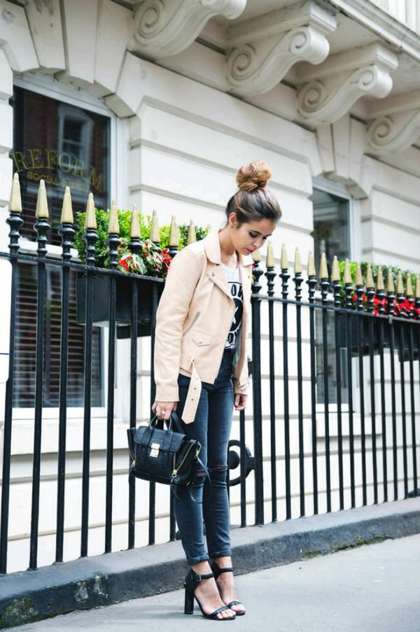 jacket heels bag shirt top white black leather jacket leather jacket