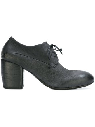 heel wood shoes lace-up shoes lace black