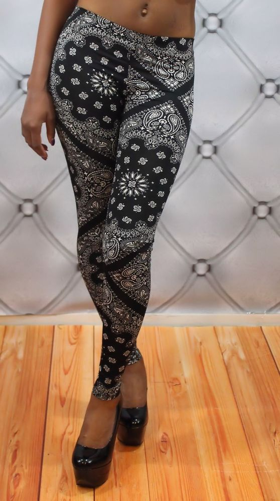 New Paisley Bandana Print Stretch Legging Tights Pants | eBay