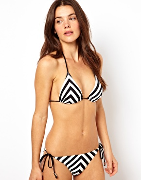 River Island Cutabout Stripe Bikini at ASOS