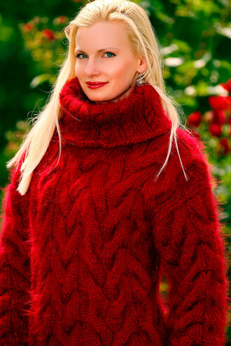 sweater supertanya hand made knit cable red turtleneck mohair wool angora alpaca cashmere soft thick fluffy