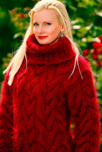 Sweater: supertanya, hand, made, knit, cable, red, turtleneck ...