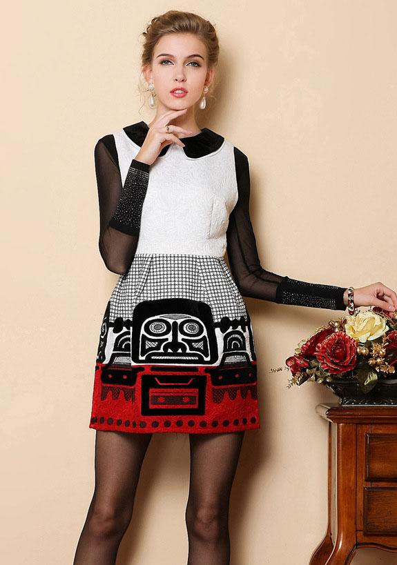 White Sleeveless Plaid Totem Pattern Dress - Sheinside.com