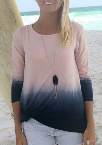 top ombre gradient sweater shirt pink navy blue summer fashion style