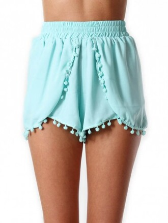 comfy elastic light blue pom pom shorts