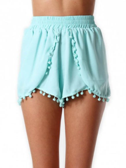 elastic comfy light blue pom pom shorts