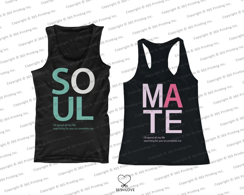 His and Her Matching Tank Tops Soul Mate Sleeveless Tops for Couples | eBay