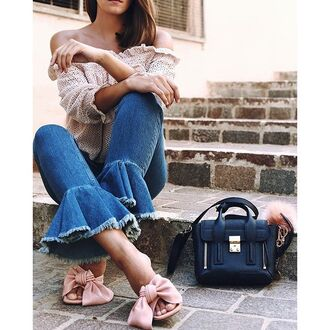 jeans tumblr kick flare denim blue jeans frayed jeans frayed denim top nude top off the shoulder off the shoulder top bag black bag mules shoes pink shoes bow heels spring outfits