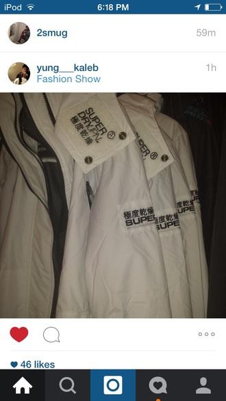 jacket white super dry jpn super dry super dry japan windbreaker white jacket superdry