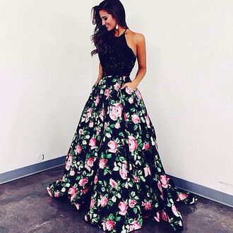 dress sexy prom dress 2016 prom dresses prom dress with printed rose halter prom dresses ball gown prom dresses high quality prom dresses elegant prom dresses maxi skirt maxi dress flowers floral skirt prom dress roses