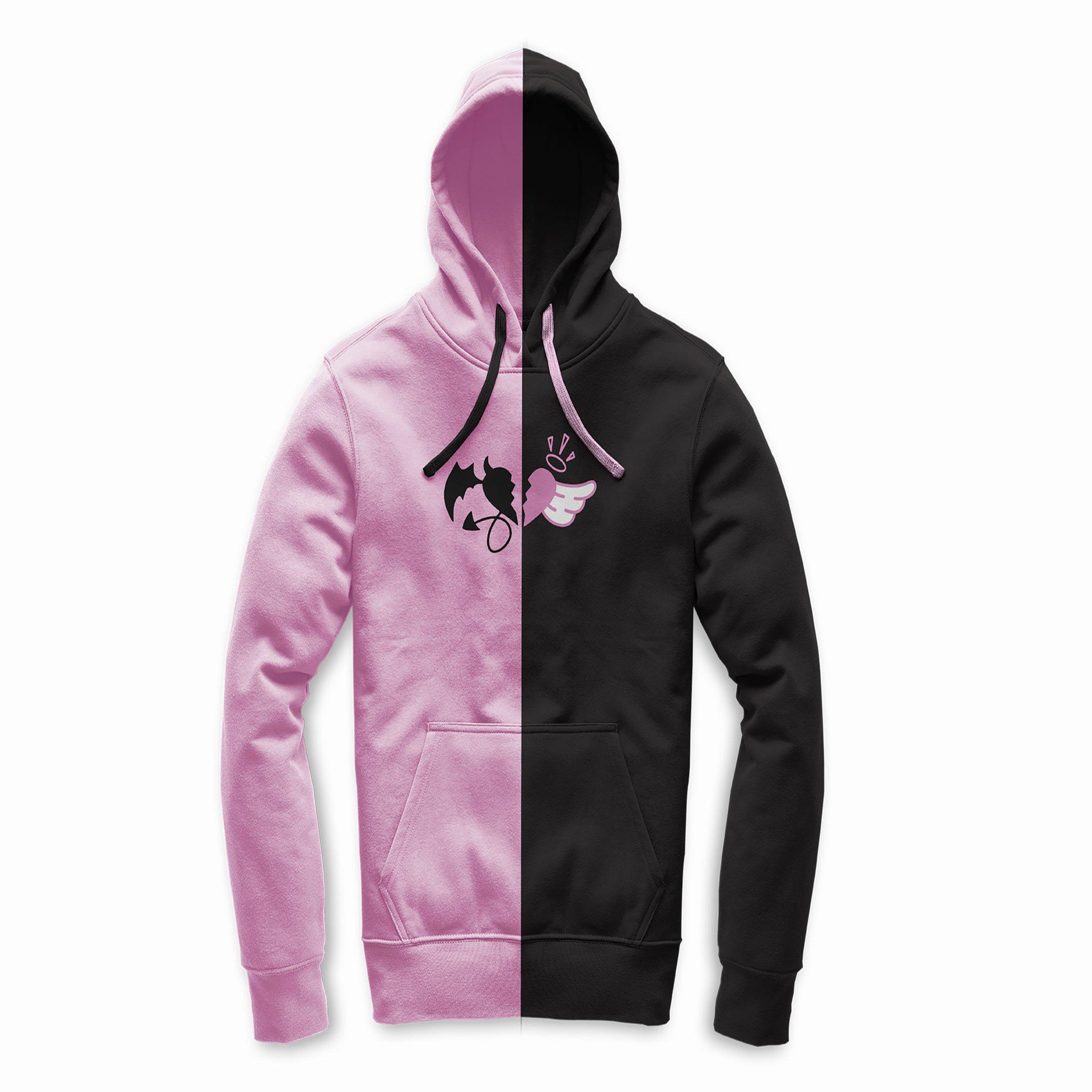 Pink and Black Split Hoodie