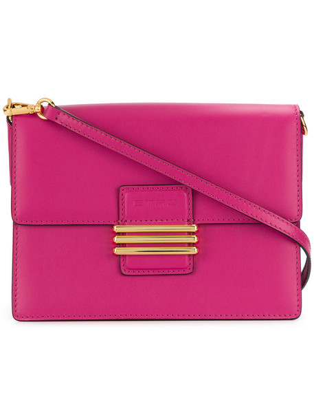 ETRO cross embroidered women bag suede purple pink