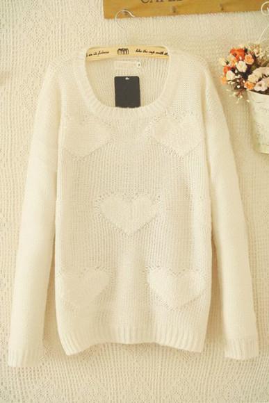 white sweater white sweater heart heart sweater cute sweater