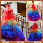 dress,rainbow,wedding dress,colorful dress,romantic wedding dress,bridal gown style